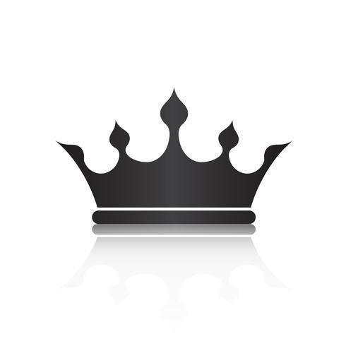 Símbolo da coroa com cor preta isolar sobre fundo branco, ilustração vetorial