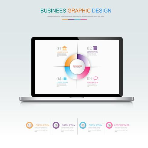 Computer laptop with business infographic on screen,3d and flat vector design illustration for web banner or presentation used