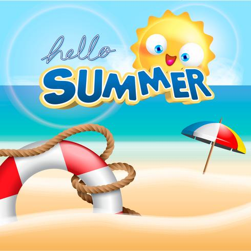 vacanze estive all'illustrazione della priorità bassa della spiaggia