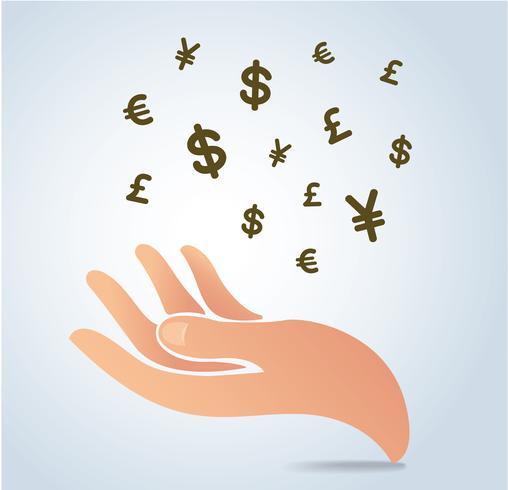 main tenant argent symbole icône vecteur, concept d'entreprise