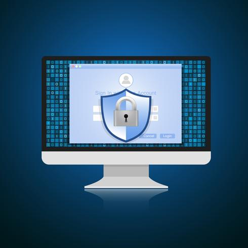 Konceptet är datasäkerhet. Sköld på datorn skyddar känsliga data. Internet säkerhet. Vektor illustration.