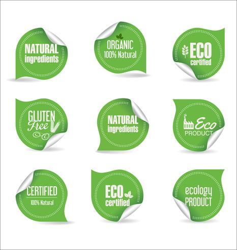 Eco Vintage etiquetas Bio plantilla conjunto ecología Retro diseño