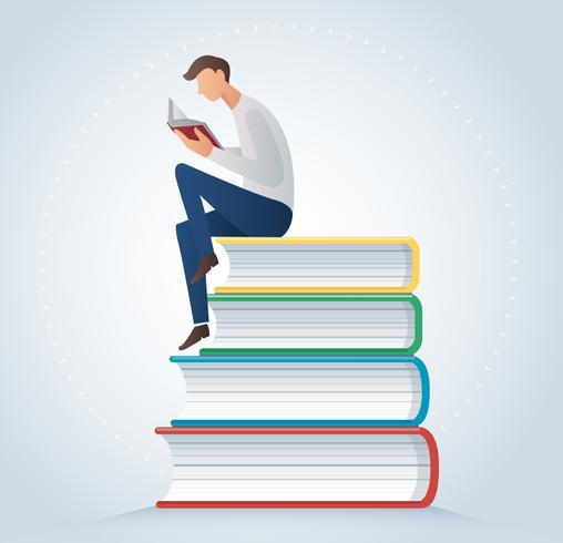 man reading book sitting on many books vector illustration