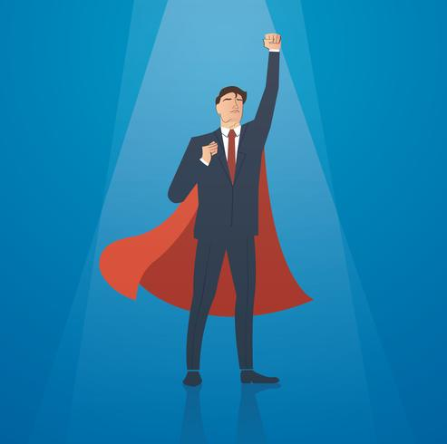 successful businessman with red cape vector