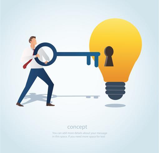 uomo che tiene la grande chiave con il buco della serratura sulla lampadina, concetto di vettore di pensiero creativo
