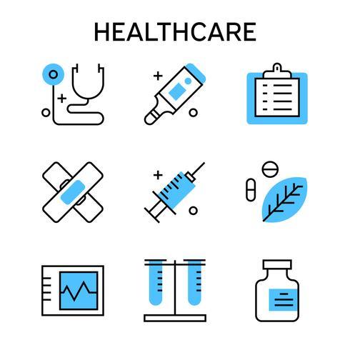 Vlakke lijnpictogrammen met blauwe kleur voor gezondheidszorg, medisch, verpleging, ziekenhuis, enz