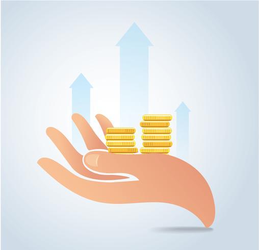 hand som håller mynt vektor, business growth concept