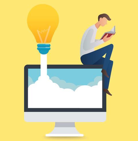 Mannlesebuch, das auf einer Computer- und Glühlampevektorillustration sitzt