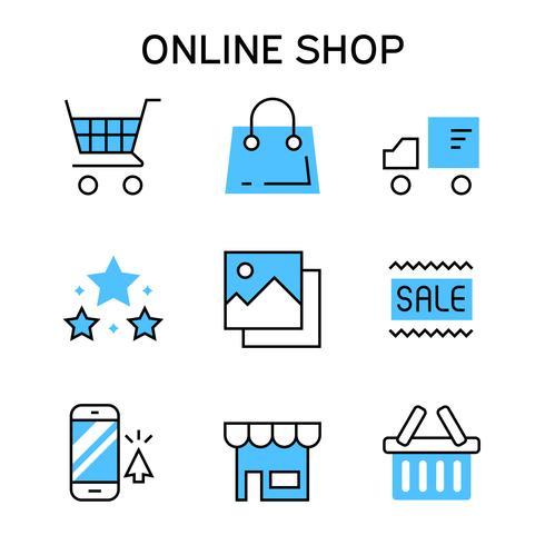 Iconos de línea plana con color azul para compras en línea, comercio electrónico, mercado, plataforma de compras, sitio web y aplicación vector