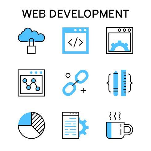 Icone linea piatta con colore blu per lo sviluppo web, il debug e il networking