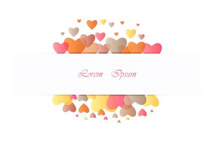 Progetti per il giorno di S. Valentino con colore cuore pieno su fondo bianco, vettore