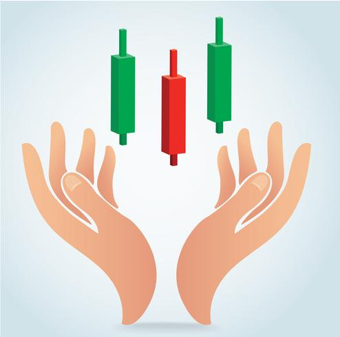 hand holding candle stick graph chart of stock market vector