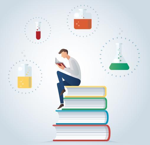 Mannen läser bok sitter på glasögon för kemisk vektor illustration