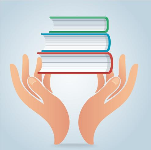 mani che tengono vettore di progettazione di libri, concetto di educazione