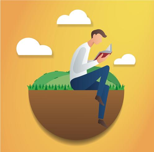 man sitting in the park and reading book vector illustration