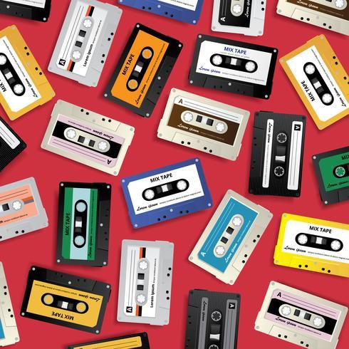 Ilustración de vector de plantilla de diseño de cinta de cassette retro vintage