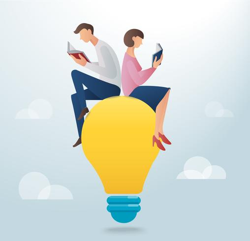 man and woman reading book and sitting on a light bulb, creative concept vector illustration