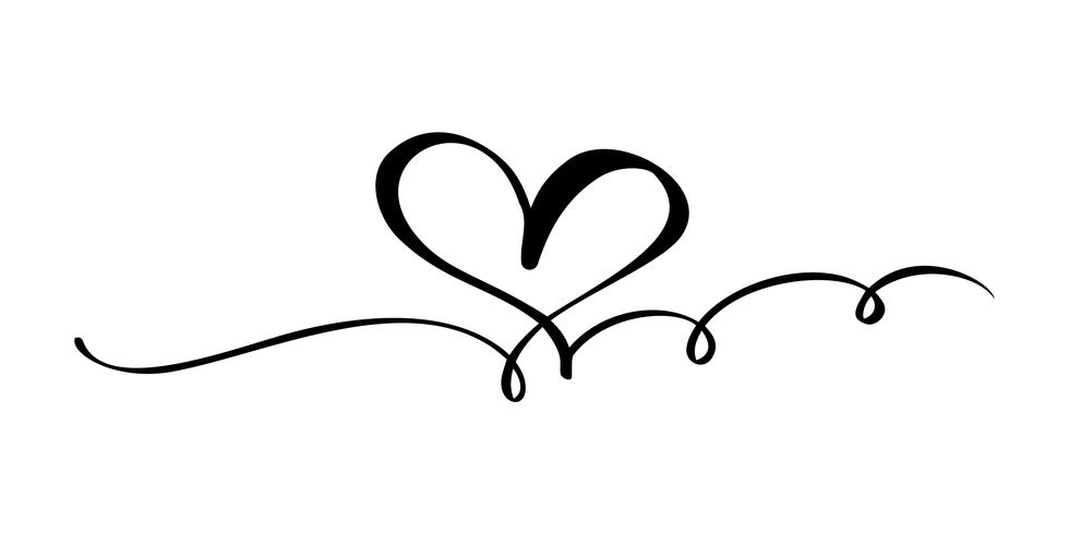 Signe d'amour coeur dessiné à la main. Illustration vectorielle de calligraphie romantique. Symbole d'icône Concepn pour t-shirt, carte de voeux, mariage affiche. Élément plat design de la Saint-Valentin