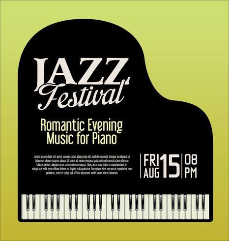 Jazz festival piano evening vector illustration