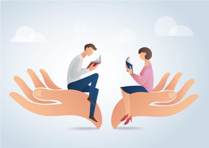 Hombre y mujer leyendo libros en grandes manos, ilustración vectorial educación concepto
