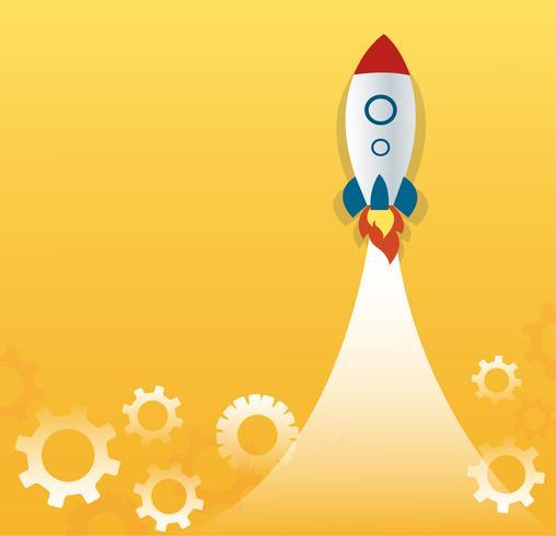 une fusée et engrenages, vecteur de concept de démarrage d'entreprise