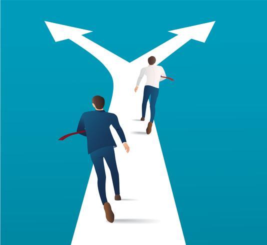 Dos hombre de negocios que se ejecutan en la encrucijada y haciendo elección vector Ilustración del concepto de negocio. competencia de carrera