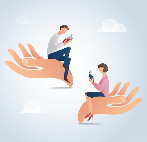 Mann- und Frauenlesebücher auf großen Händen, Bildungskonzept vector Illustration