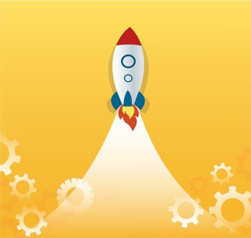 un razzo e ingranaggi, vettore di concetto di business startup