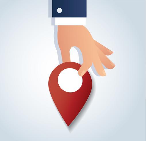 Hand holding pin ikon, röd locatin ikon vektor illustrationer