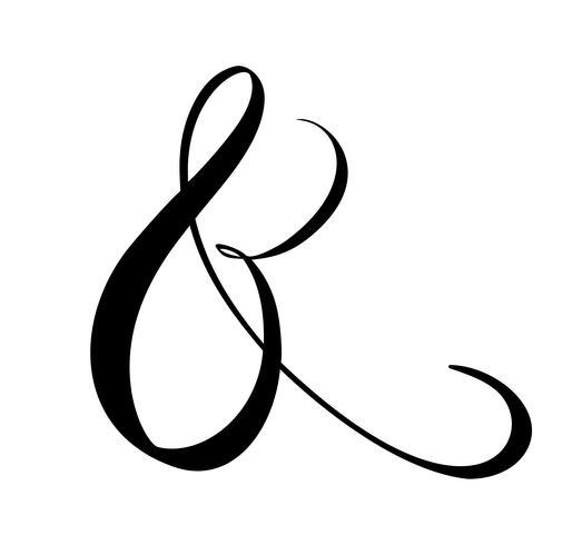 Esperluette décorative personnalisée isolé sur blanc. Calligraphie manuscrite, illustration vectorielle. Idéal pour les invitations de mariage, cartes, bannières, superpositions de photos