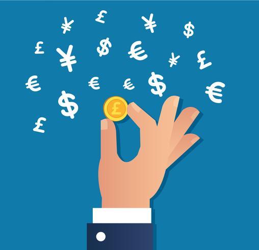 Hand, die Goldmünze und Geld unterzeichnen Ikonenvektor, Geschäftskonzept hält
