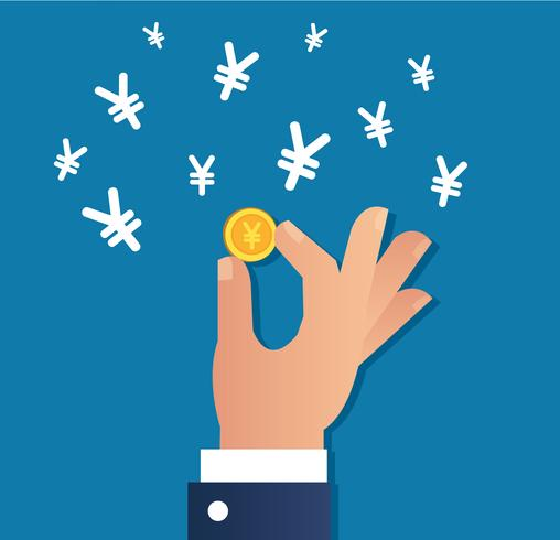 Hand, die Goldmünze und Yen-Dollarzeichenikonenvektor, Geschäftskonzept hält vektor