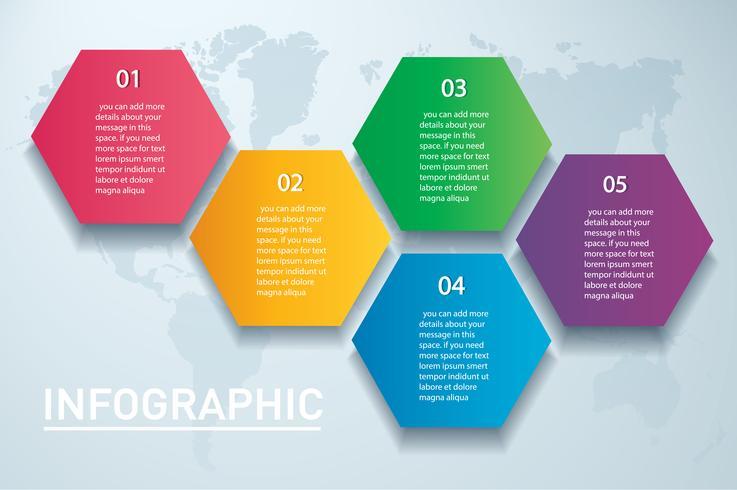 modelo de vetor colorido infográfico hexágono com 5 opções. Pode ser usado para web, diagrama, gráfico, apresentação, gráfico, relatório, passo a passo infográficos. Fundo abstrato
