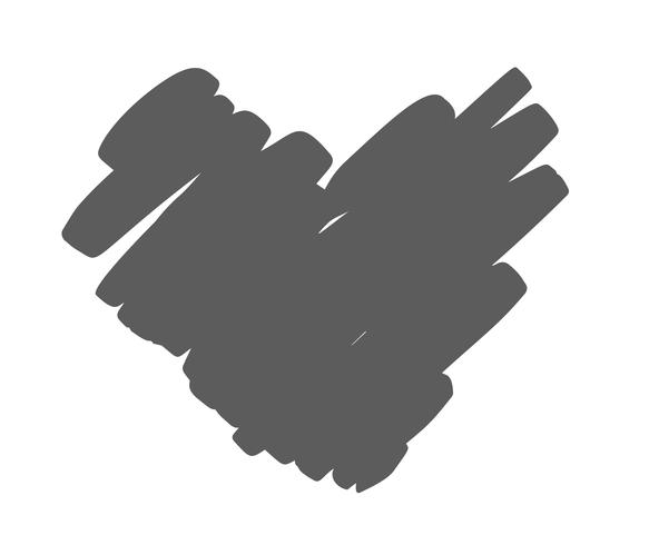 Coeur de vecteur dessiné main avec bord rugueux. Illustration d'encre de pinceau sec. Symbole d'icône Concepn pour t-shirt, carte de voeux, mariage affiche. Élément plat design de la Saint-Valentin