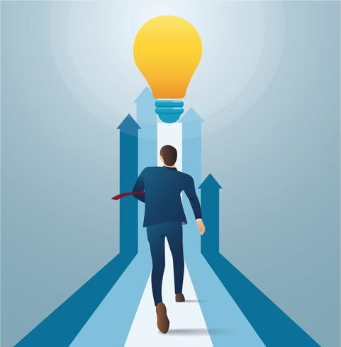businessman running to light bulb. concept of business start up. creative concept vector illustration
