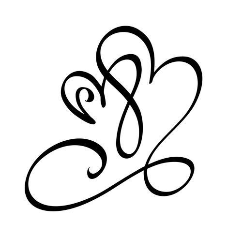 Disegnata a mano due cuore segno d'amore. Illustrazione vettoriale di calligrafia romantica. Simbolo dell'icona di Concepn per t-shirt, cartolina d'auguri, matrimonio poster. Design piatto elemento del giorno di San Valentino