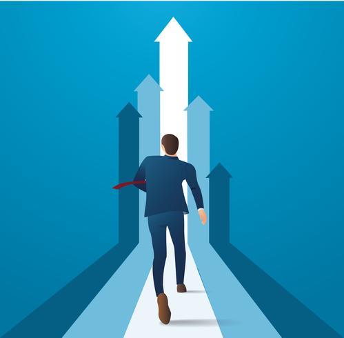 empresário correndo para ter sucesso em uma ilustração do vetor de carreira