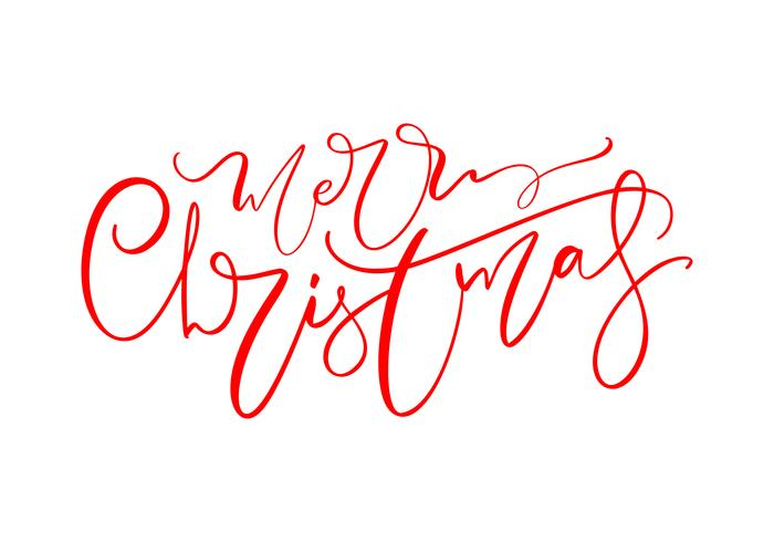 Testo di lettering disegnato a mano di buon Natale. Illustrazione vettoriale Calligrafia di Natale su sfondo bianco. Elemento calligrafico isolato per banner, cartolina, cartolina d'auguri di poster design
