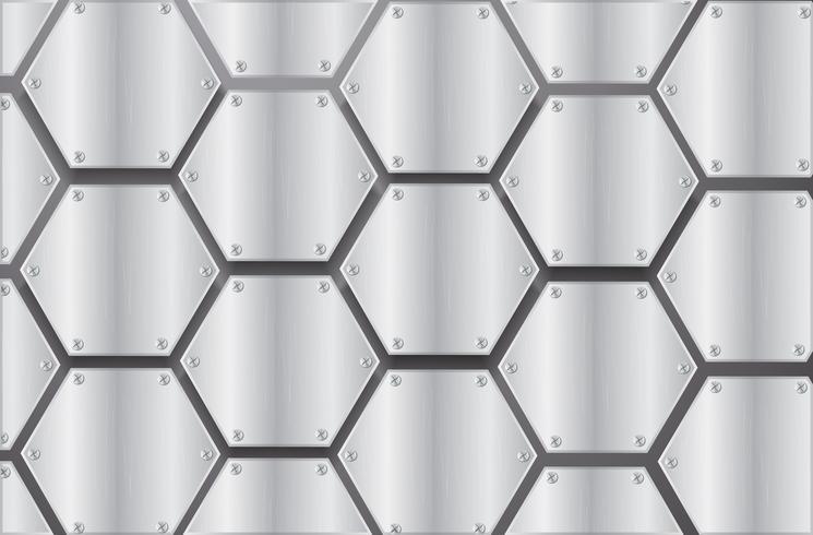 platta metall hexagon och svart bakgrund vektor illustration