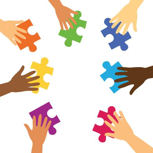 many hands holding colorful puzzle pieces vector