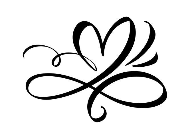 Dibujado a mano corazón signo de amor. Ilustración de vector de caligrafía romántica. Símbolo del icono de Concepn para la camiseta, tarjeta de felicitación, boda del cartel. Elemento plano de diseño del día de san valentín.