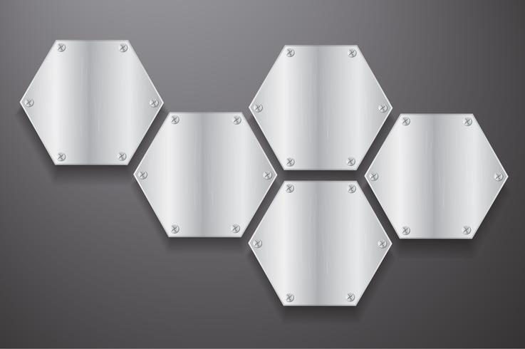 Hexágono metálico de placa y fondo negro ilustración vectorial