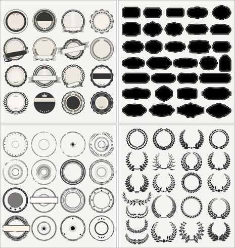 Conjunto de marcos vintage retro vacíos laureles insignias y sellos vector