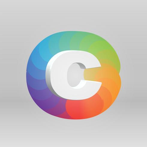 Personaggio 3D da un fontset con sfondo colorato, vector illustartion