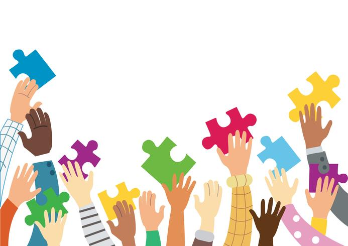 many hands holding colorful puzzle pieces background vector illustration