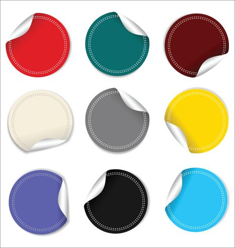 Empty Round stickers on white background collection vector
