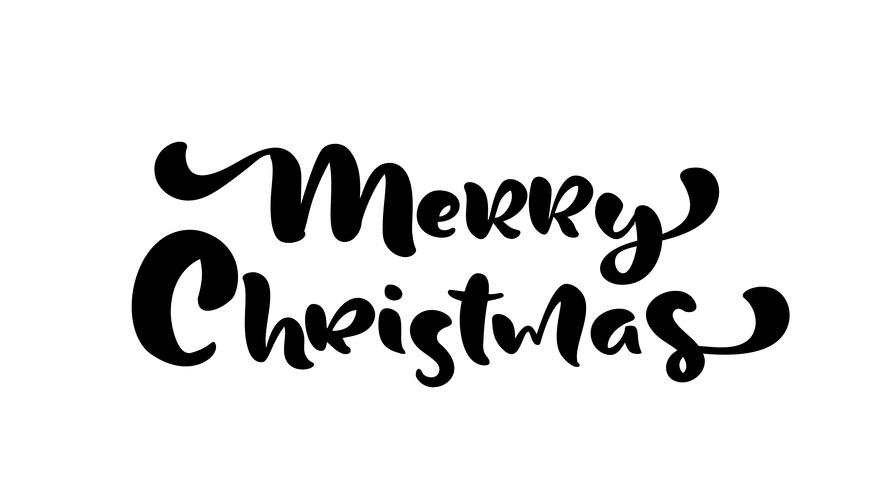 Merry Christmas hand drawn lettering text. Vector illustration Xmas calligraphy on white background. Isolated calligraphic element for banner, postcard, poster design greeting card