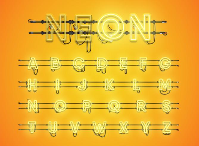 Realistic glowing yellow neon charcter set vector