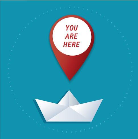 pin icono de ubicación en vector de barco de papel, el concepto de viaje