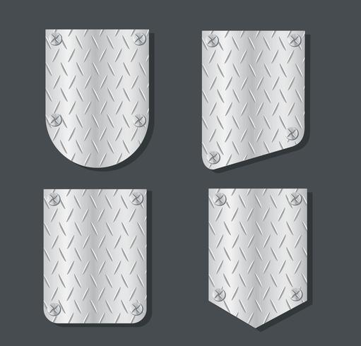 plate metal banner set vector illustration